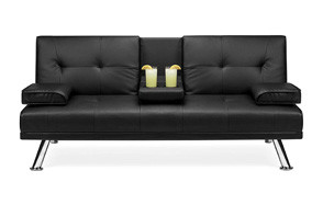 best choice products modern faux leather convertible futon sofa
