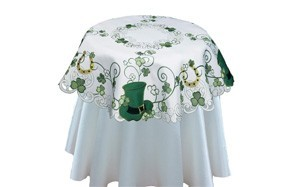 creative st. patrick's day table linens embroidered with clovers, shamrocks and leprechaun hats