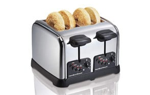 hamilton beach classic chrome 4 slice extra wide slot toaster with bagel technology