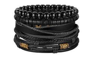jstyle 4pcs braided leather bracelet men's