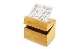 kovot bamboo recipe box with acrylic card holder