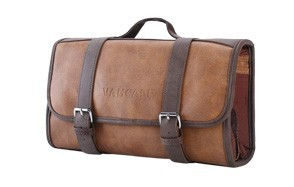 vancase leather hanging toiletry bag