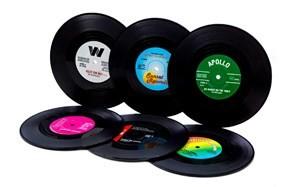vinyl record drink coaster set