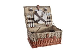von shef 4 person wicker picnic basket set