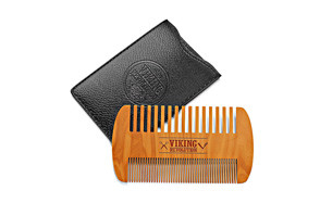 viking revolution store wooden beard comb & case