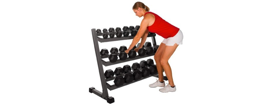X Mark 550lb Dumbbell Set and 3 Tier Rack