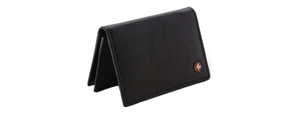alpine swiss genuine leather thin business card case - Leather Business Card Case