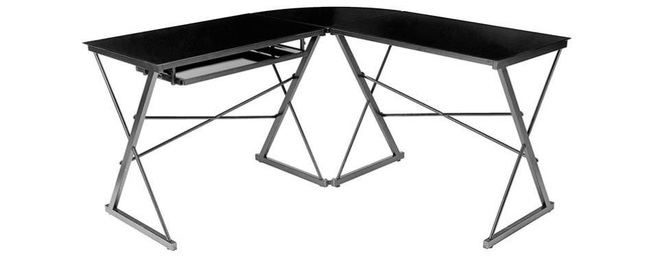 amazonbasics three piece glass gaming desk
