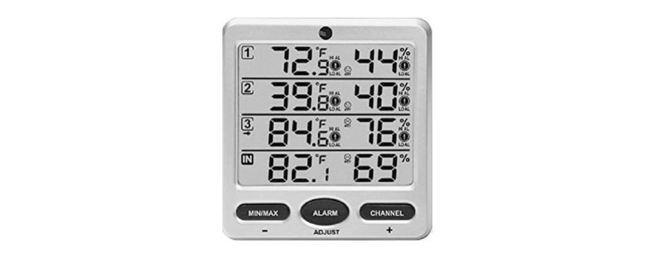 ambient weather wireless indoor/outdoor 8-channel thermo-hygrometer
