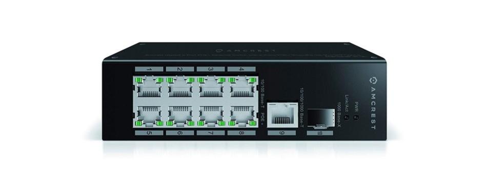 amcrest gigabit uplink 9-port poe+ ethernet switch agps9e8p-at-96