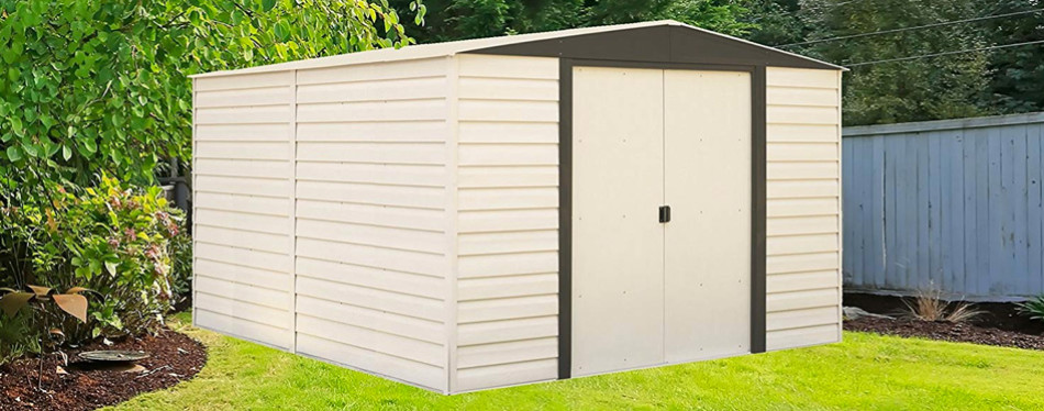 arrow vd1012-d1 vinyl coated dallas 10x12 foot steel storage shed