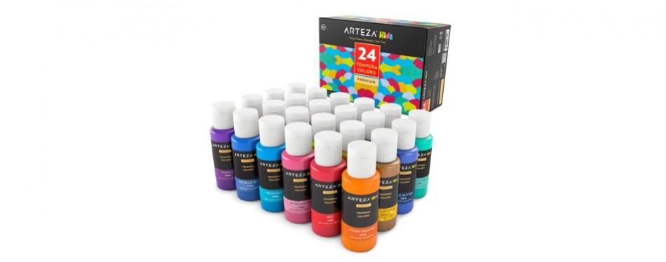 arteza kids tempera glow in the dark paint set with glitter
