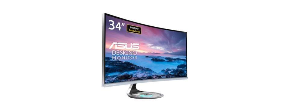 "asus mx34vq designo curved 34"" uqhd monitor"