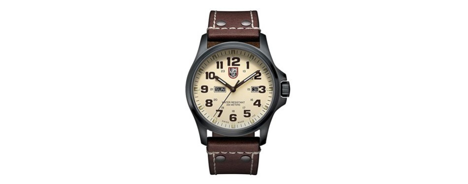 atacama stainless steel brown leather watch