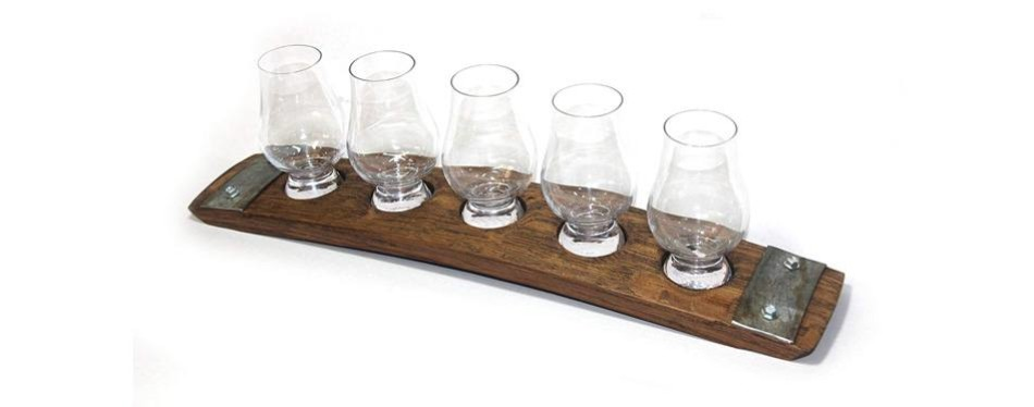 barrel-art 5 glass whiskey serving/tasting tray