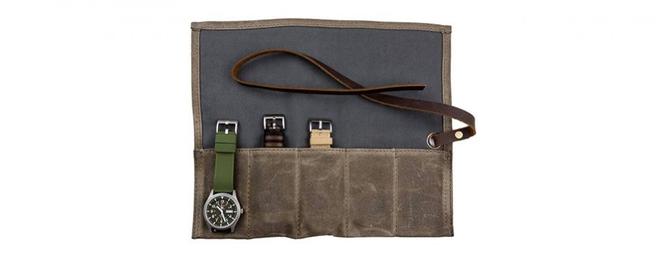 barton waxed canvas watch roll