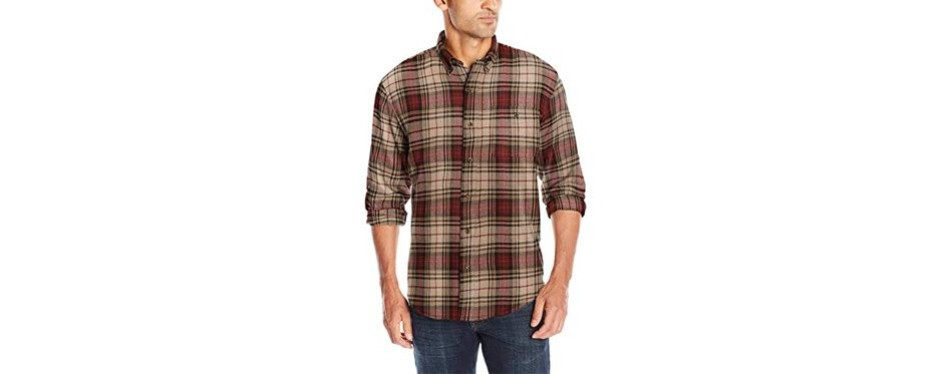 bass men's long sleeve fireside plaid flannel shirt