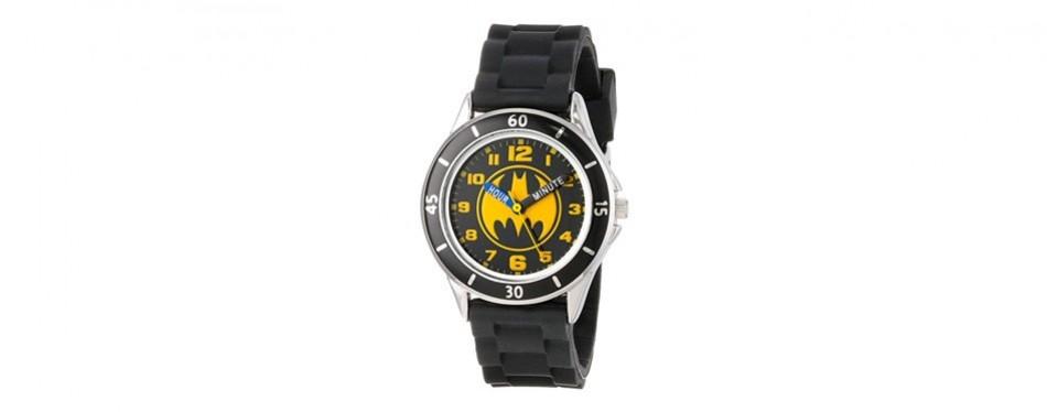 batman kids' analog watch with silver-tone casing