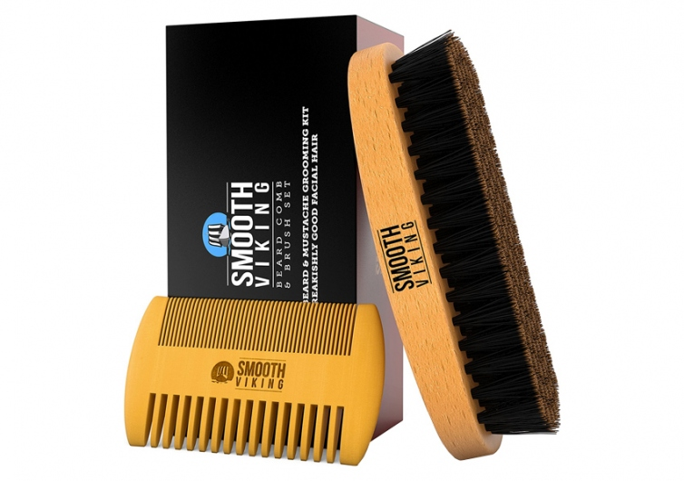 Beard & Mustache Brush and Comb Kit