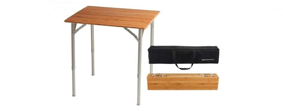 beckworth & co. smartflip bamboo portable outdoor picnic folding table