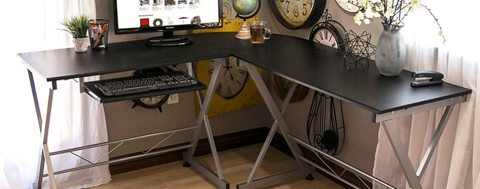 best choice products wood l-shape corner computer