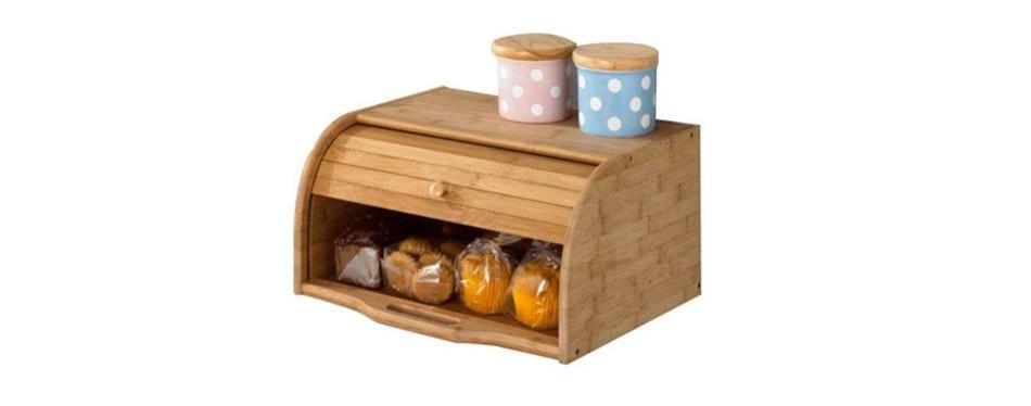 betwoo natural wooden roll top bread box