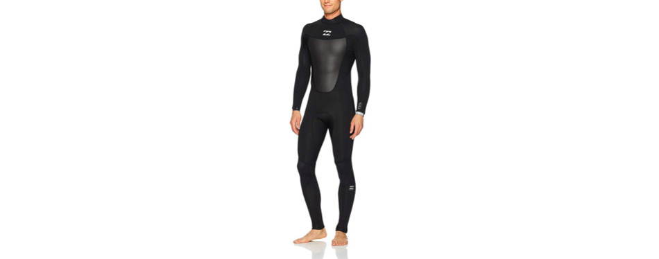 billabong men's foil 3/2 back zip flat stitch seam full wetsuit