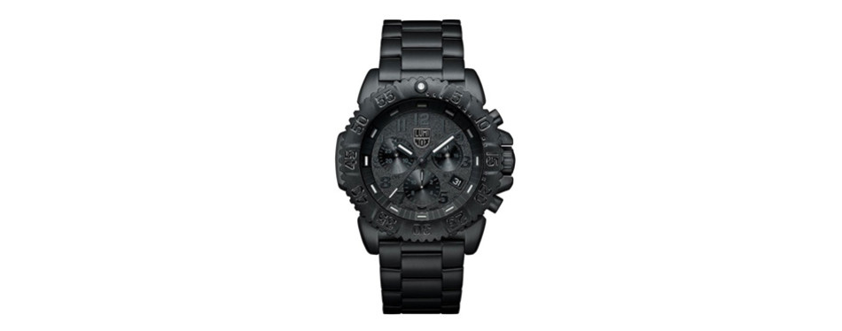 black steel colormark chronograph watch