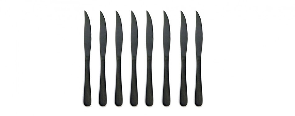 briiec matte black titanium plating stainless steel steak knives