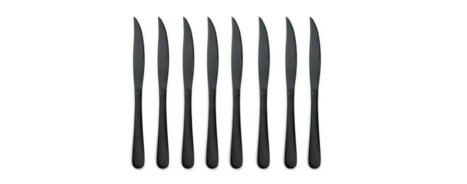 briiec matte black titanium plating stainless steel steak knives