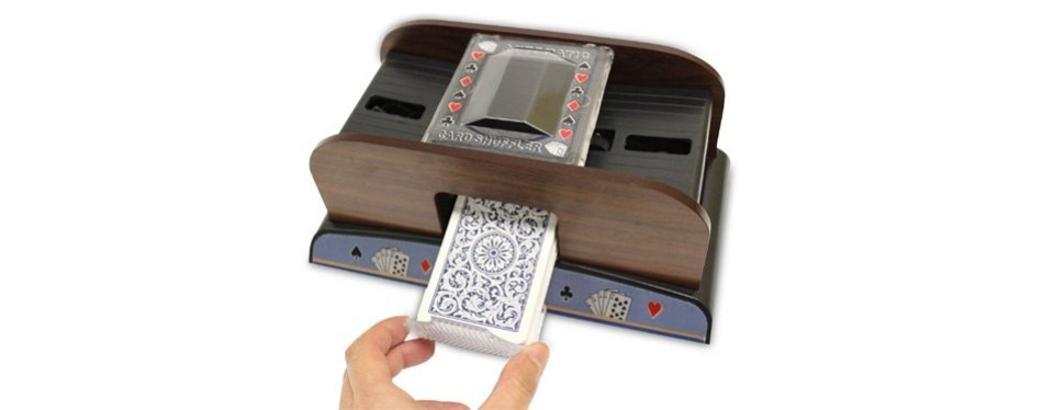 brybelly 2-deck wooden automatic card shuffler