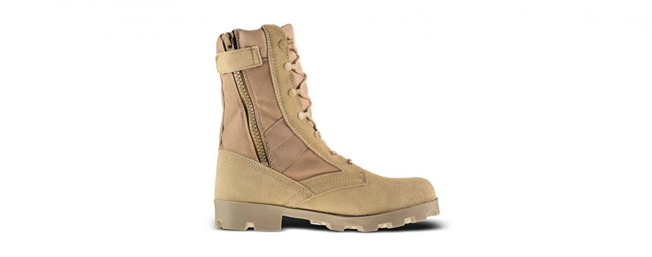 bufferzone men's desert tan military tactical work boots with zipper