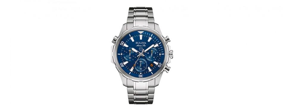 2. bulova men's 43mm marine star stainless steel chronograph watch