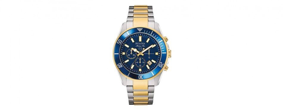 bulova men's 43mm marine star two-tone chronograph bracelet watch