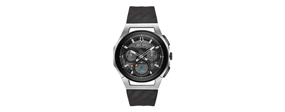 bulova men's 44mm curv collection silvertone chronograph watch