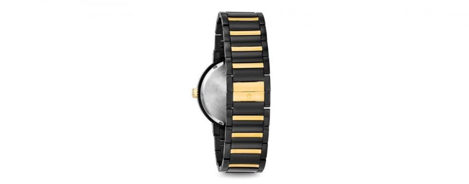 bulova men's 45mm modern black ip stainless steel bracelet watch