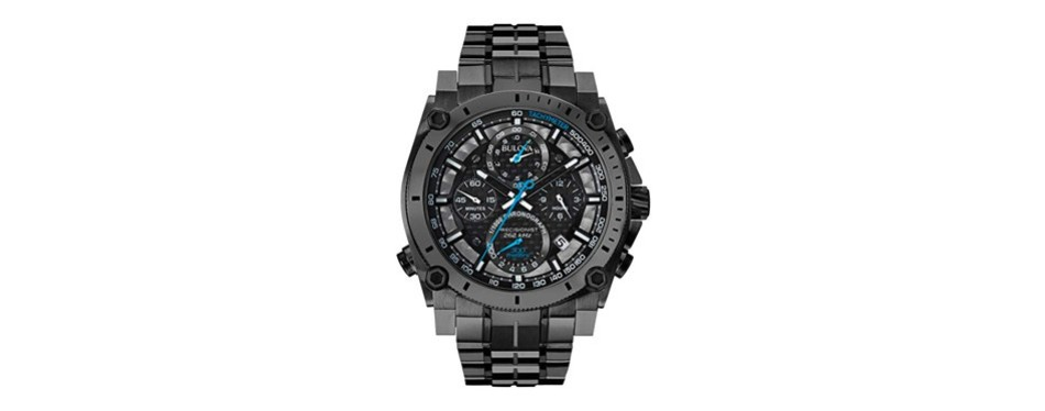 bulova men's 46mm precisionist gunmetal gray chronograph watch