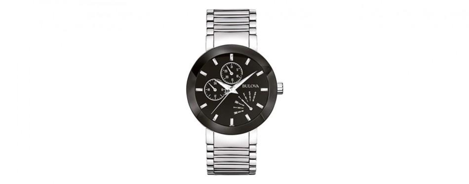 bulova men's 96c105 black stainless steel watch