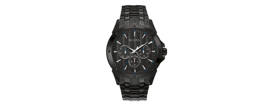 bulova men's 98c121 sports analog display japanese quartz black watch