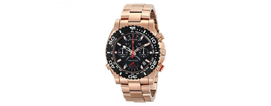 bulova men's analog display japanese quartz rose gold watch