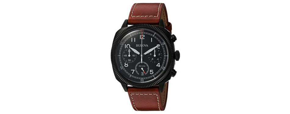bulova men's 'classic' quartz stainless steel and leather watch