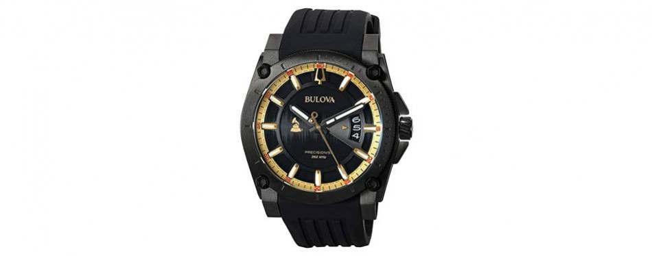 bulova men's grammy watch' quartz stainless steel and silicone casual