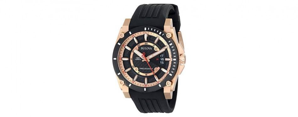 bulova men's precisionist analog chronograph rose gold watch