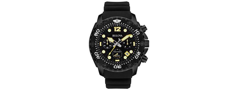 bulova men's sea king analog display quartz black watch
