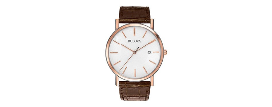 bulova men's stainless steel dress watch with croco leather band