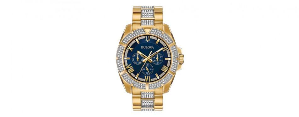 bulova men's 'swarovski crystal' quartz stainless steel casual watch