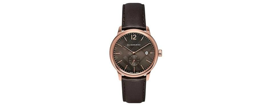 burberry men's check stamped round dial rose gold watch