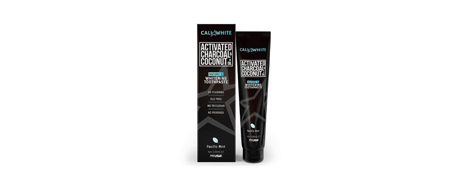 cali white active charbon de bois & huile de coco bio dentifrice blanchissant les dents