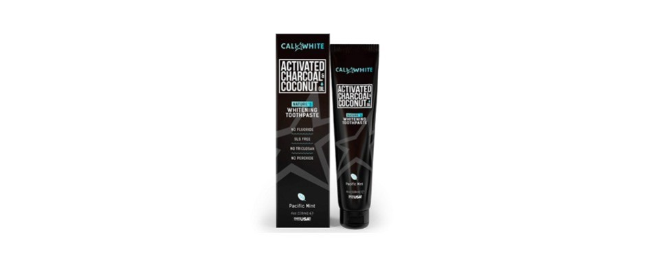 cali white activate charcoal & organic coconut oil teeth whitening toothpaste