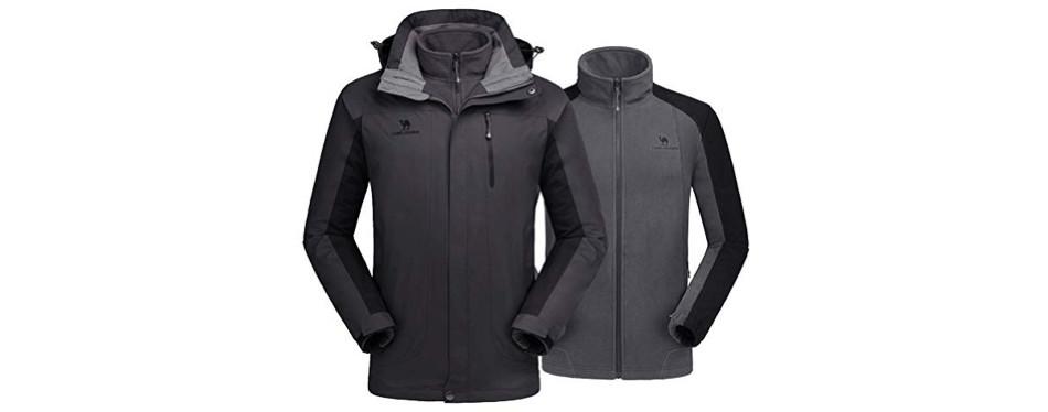 camel crown 3-in-1 winter windbreaker ski jacket